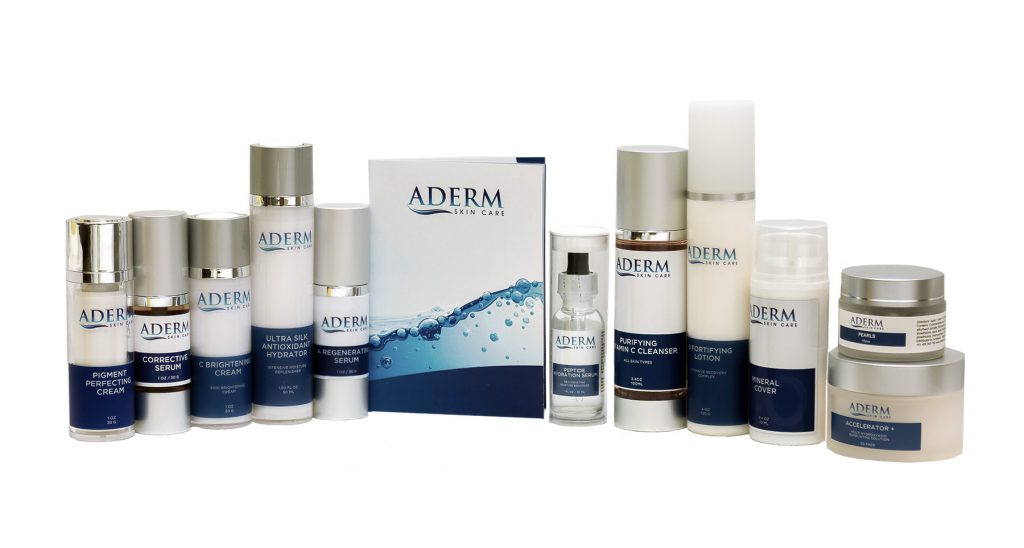 aderm skin care product range